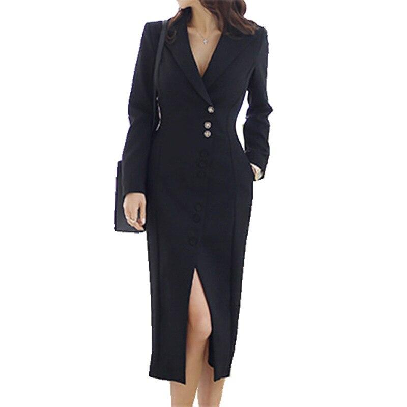 Femmes élégantes robes bureau Blazer noir robe vêtements de cérémonie 2019 nouvelle veste costume printemps Sexy costume dames robes femmes vêtements