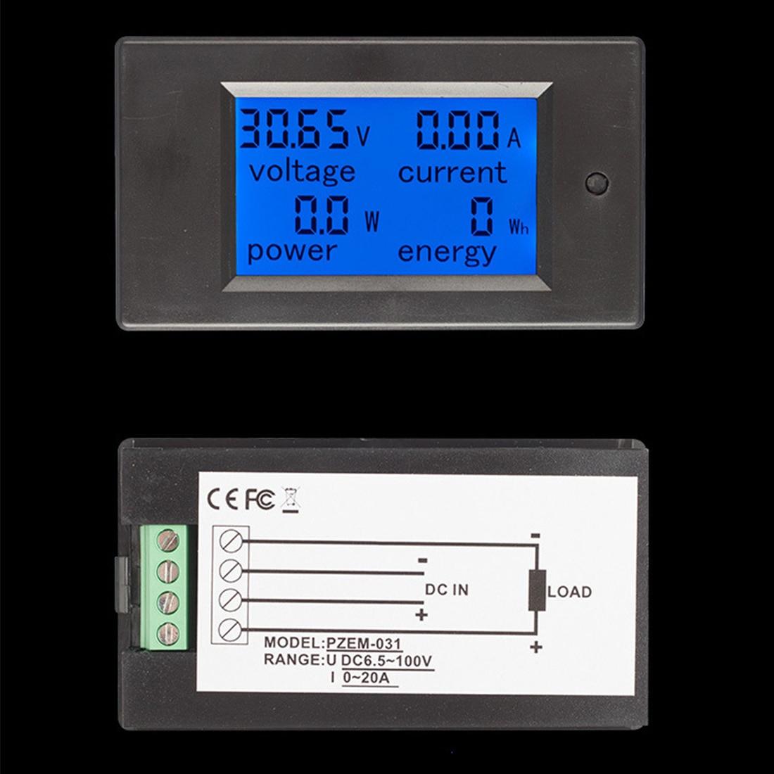 DC Digital DC 6.5-100V 0-20A LCD Display Digital Current Voltage Power Energy Meter Multimeter Ammeter Voltmete