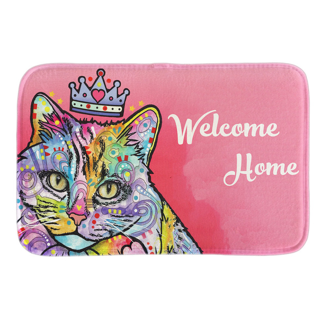 welcome home by the queen cat decorative indoormat soft door matwelcome home by the queen cat decorative indoormat soft door mat short plush bathroom floor mats soft pink carpets