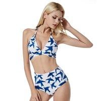 NEUE Heiße Sexy Kreuz Brasilianische bikini Gurte Hohe taille Weiß Gedruckt vögel Damen mädchen bademode Sammeln die bh badeanzug Sml XL