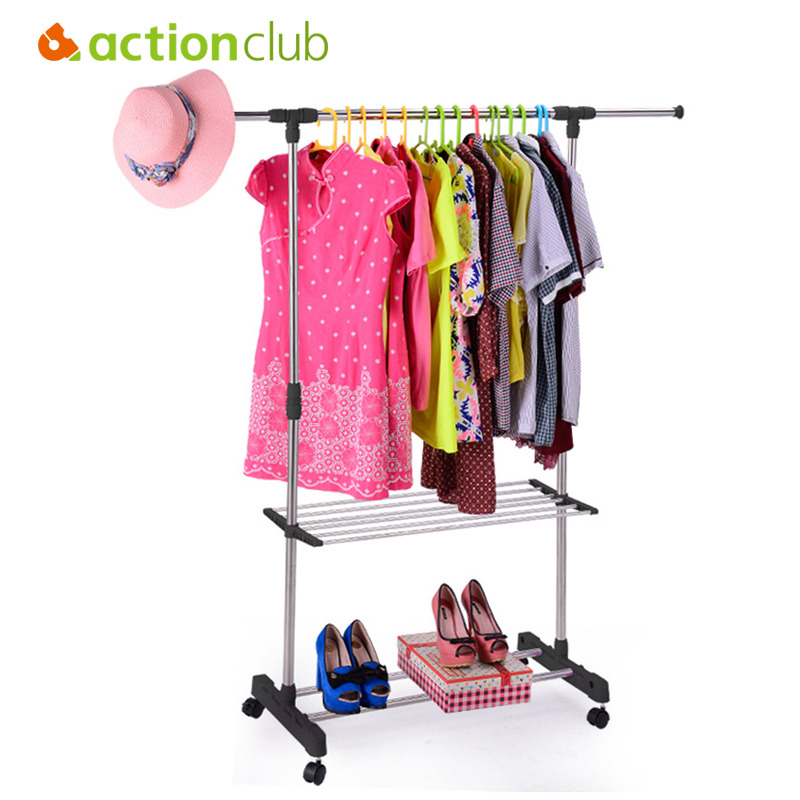Actionclub Multifunction Stainless Steel Single Rod Drying Rack With Storage Rack Towel Rack Balcony Folding Drying Rack Hanger