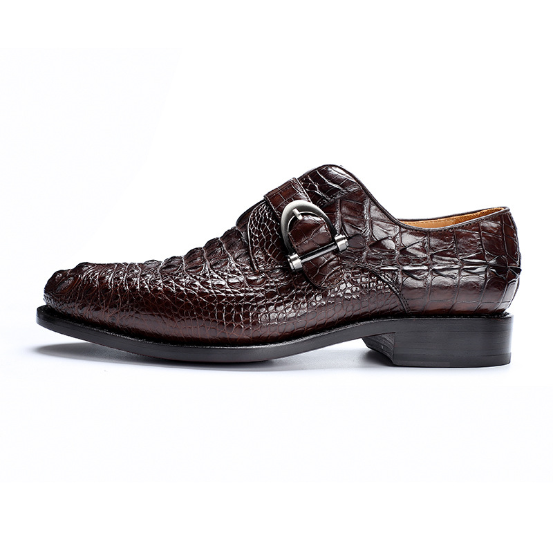 Free ShipªShoes Crocodile Business-Work Brown Wedding Pointed-Toe Party Office-Footwear Black Genuine