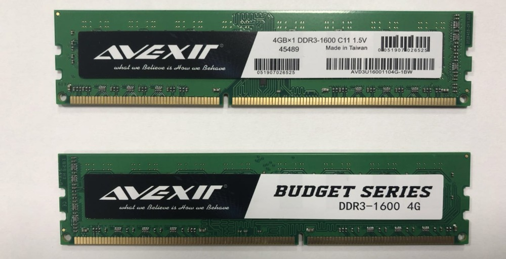 AVEXIR RAM DDR3 4GB / DDR3 8GB Memory Frequency 1600MHz 1.5V Desktop memory Interface Type 240pin 11-11-11-28 CL=11 Single RAMs 38