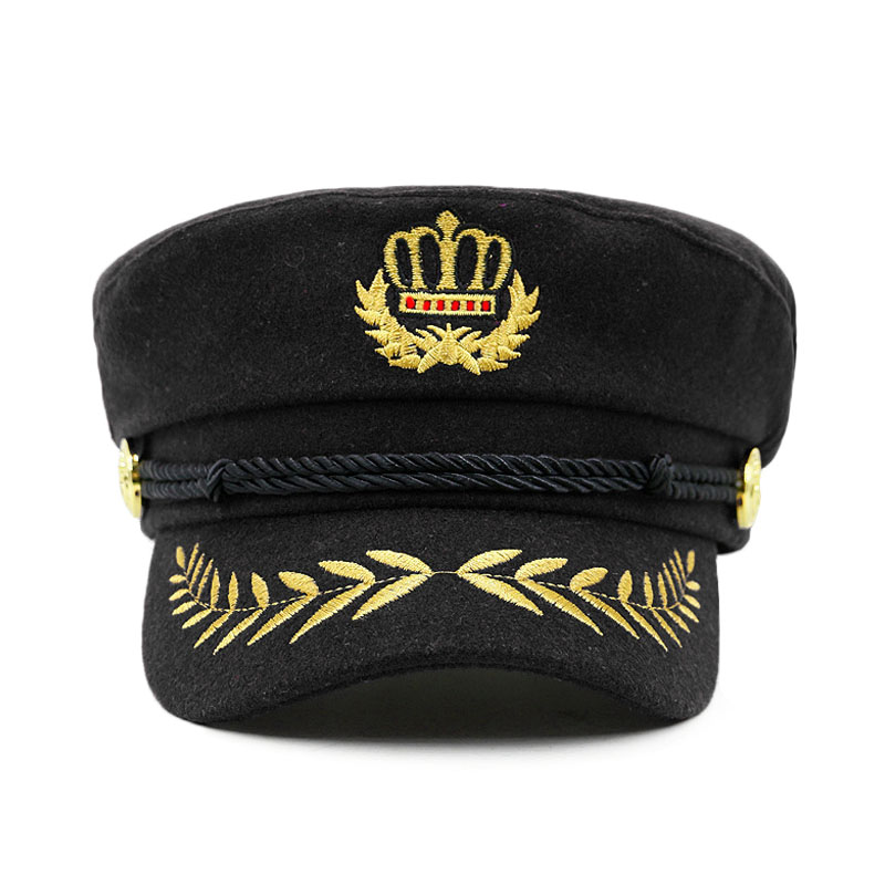 f2ef97525e7e88 New Embroidered Crown Women Navy Hat Fashion Black Men Flat Top Hat Woolen  Casual Retro Visor Spring Autumn Design Cap -in Military Hats from Apparel  ...