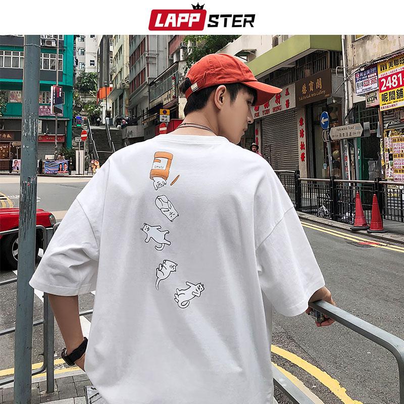 LAPPSTER Men Harajuku Funny T Shirt 2019 Summer Streetwear Cat Graphic Tops And Tees Mens Cartoon Short Sleeve T-shirt Hip Hop