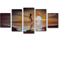 Hand Painted Abstract Five pieces Combination Sunset Seascape Oil Painting Nude Woman Wall PicturesLiving Room Home Wall Decor