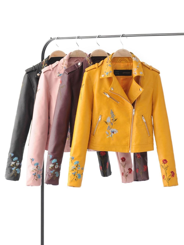 2017 Women Faux Leather Jacket Embroidery Biker Jackets Aviator Coat New  Short Motorcycle Coats With Belt
