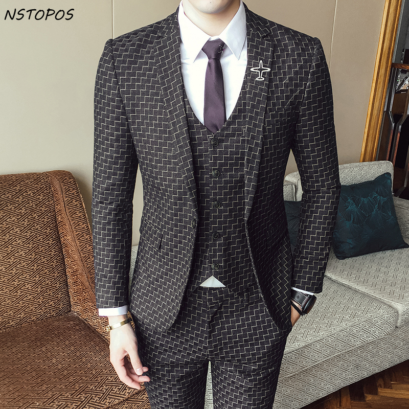 NSTOPOS 3 Piece Wedding Suit Plaid Suits For Men Slim Fit