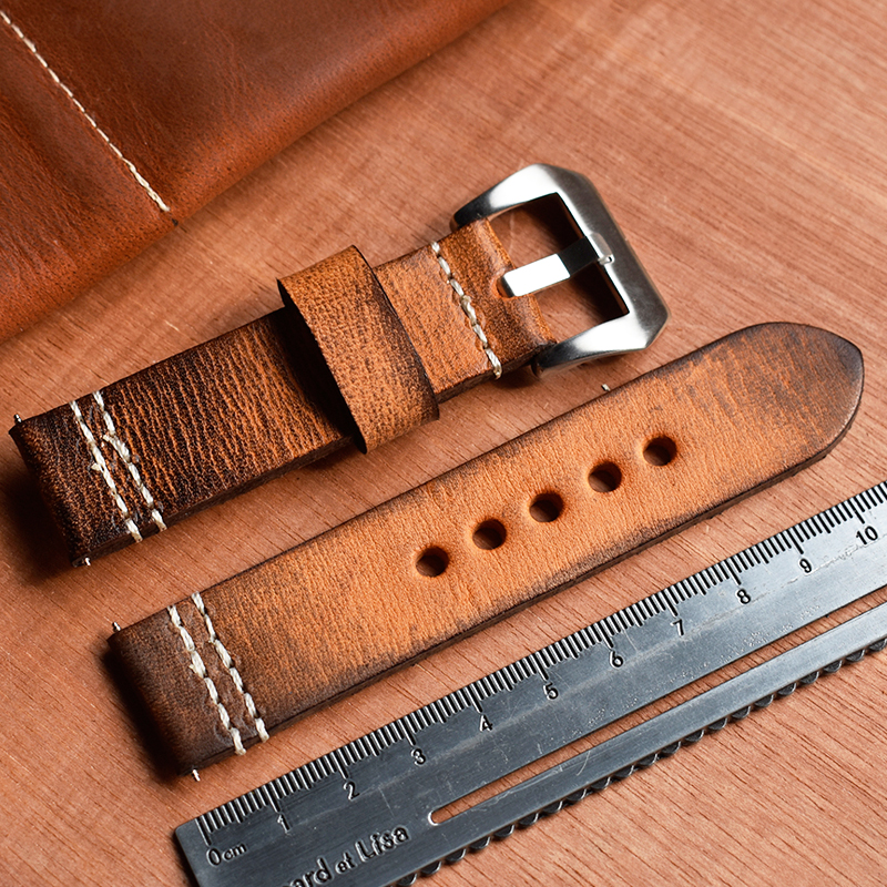 Onthelevel Vintage Watch Strap 20mm 22mm 24mm Watch Band Leather With Brush Buckle Retro Thick Band Watch Belt #C