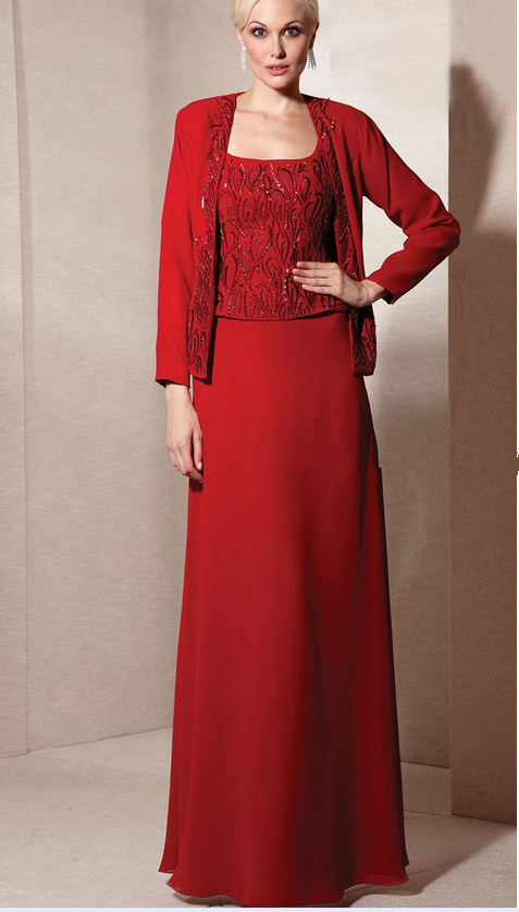 Long Red Mother of the Bride Dresses