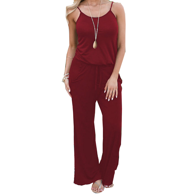 Summer Spaghetti Strap Jumpsuits New Women Rompers Red Casual Jumpsuit Female Overalls Loose Wide Leg Long Pants 2XL Plus Size