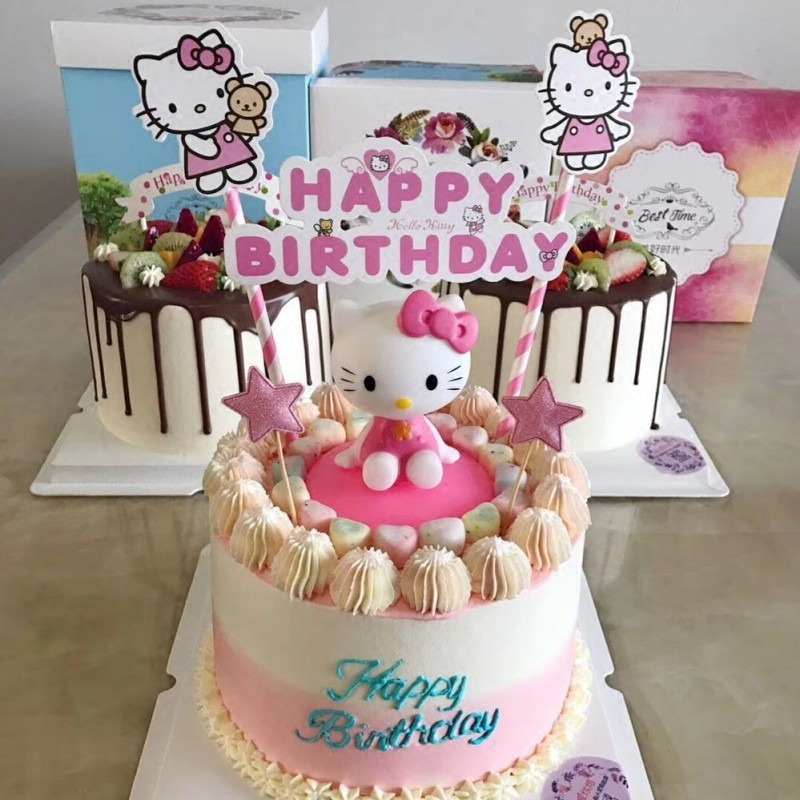 Detail Feedback Questions About Hello Kitty Birthday Cupcake Toppers Cake Toys For Girls Baby Kids Party Supplies Cat