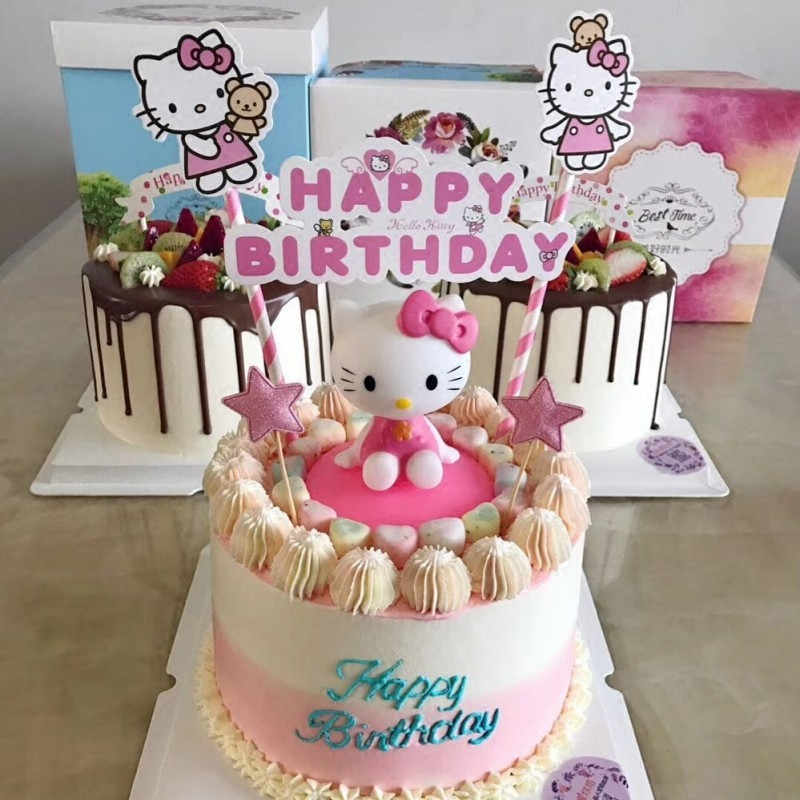f204d3411 hello kitty birthday cupcake toppers cake toys for girls baby kids birthday  party supplies baby girls