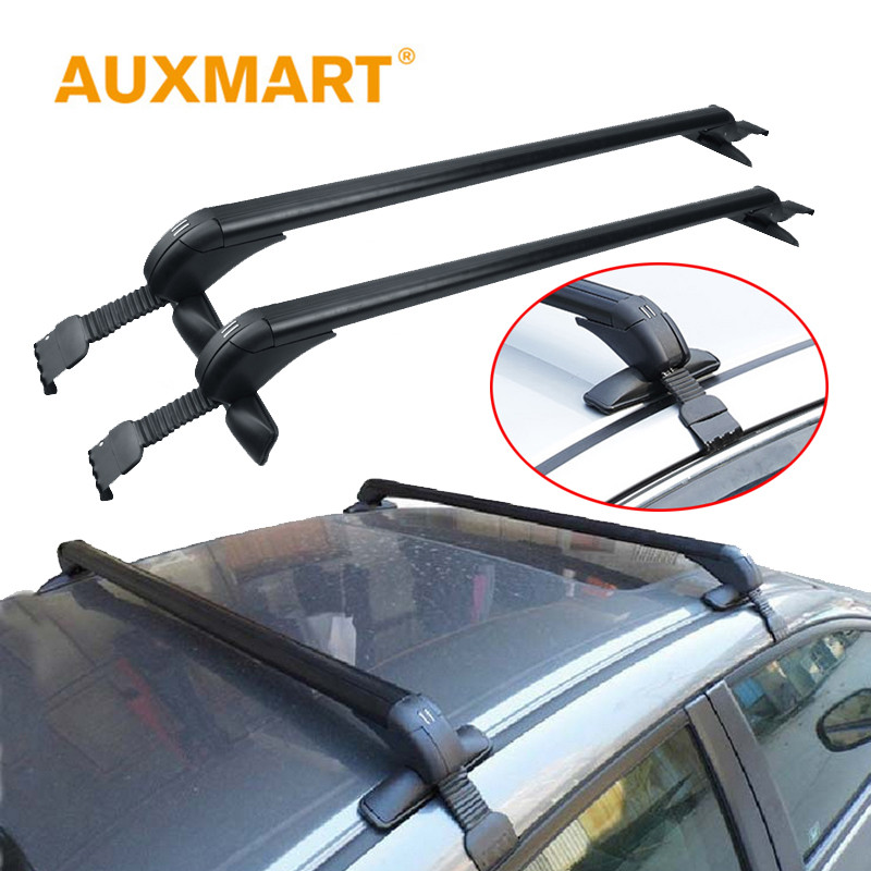 Auxmart Universal Car Roof Rack Cross Bar 90~120cm with Anti-theft Lock Auto Roof boxes Racks Bike Load Cargo Carrier Luggage partol car roof top cross bars roof rack cross bars rail carrier 150lbs aircraft aluminum for mazda cx 7 2007 2008 2009 2010 12