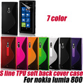 S Line soft TPU Gel Skin Cover Case for nokia lumia 800