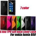 S line soft gel tpu case cubierta de piel para nokia lumia 800