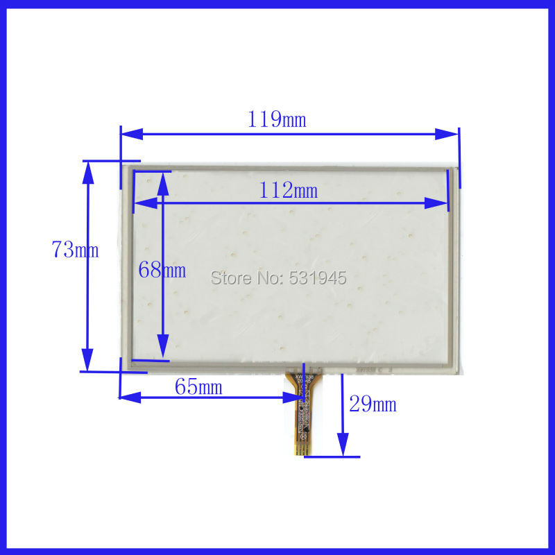 NEW 5 inch 4-wire resistive 119*73 compatible Navigator XWT938 TOUCH SCREEN Panel 119mm*73mm GLASS on LCD display