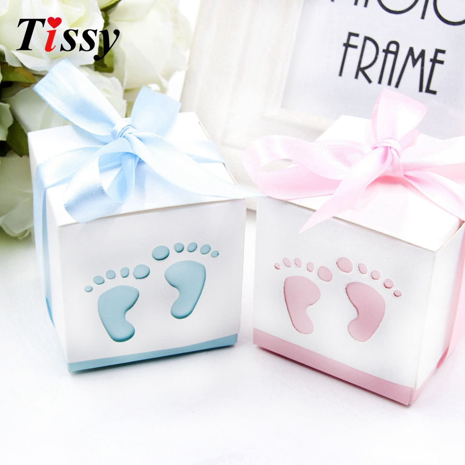Us 2 13 16 Off 6pcs Lot Baby Foot Candy Box Blue Pink Hollow Diy Paper Gift Boxes Decor Kids Birthday Party Decoration Baby Shower Supplies In Gift