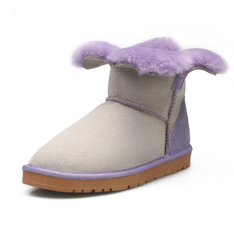 À Pétales Bonbons Femmes D'hiver Couleur Neige Bottes Trèfle Feuilles Conception Avec Ouverte gray Et Peau Mouton Chaussures Pink De Unique Frais La hot Quatre Purple Laine OwxRERYq
