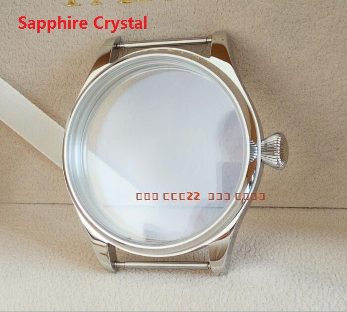 Sapphire crystal parnis 44MM 316L stainless steel watch case fit 6497/6498 Mechanical Hand Wind movement 05A 46mm stainless steel rose golden parnis watch case fit 6498 6497 movement c21