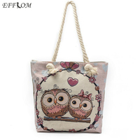 Large Capacity Women Single Shoulder Cloth Fabric Shopping Bags Cartoon Owl Bag Casual Tote Lady Canvas