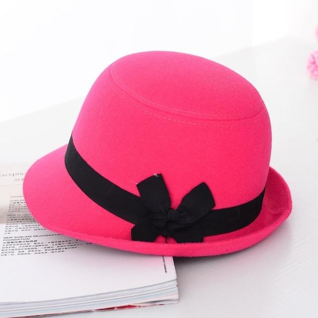 3fbc4979538b4 ... Wuaumx Brands Autumn Winter Fedora Hats For Female Ladies Felt Top Hat  For Girls Trilby Homburg ...