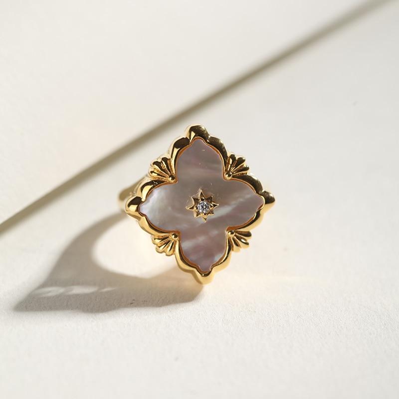 CMajor S925 Серебряные Ювелирные изделия Итальянский стиль белая оболочка четырехлистный клевер винтажные Модные кольца для женщин - 3