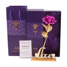 Valentine's Gift ,24k gold rose lover's flower +love vase, 25cm length (with card), (open)