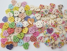 WBNOSN mini button heart shape 200pcs assorted floral and dots printed wood buttons for craft decoration