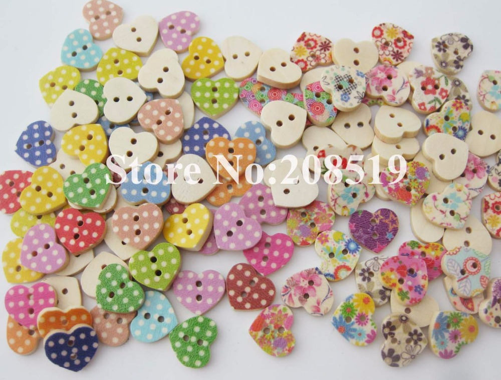 WBNOSN mini nút hình trái tim 200 cái các loại hoa và dots printed gỗ cho nghề thủ công trang trí|printed wooden buttons|wooden buttonsbuttons for craft - AliExpress