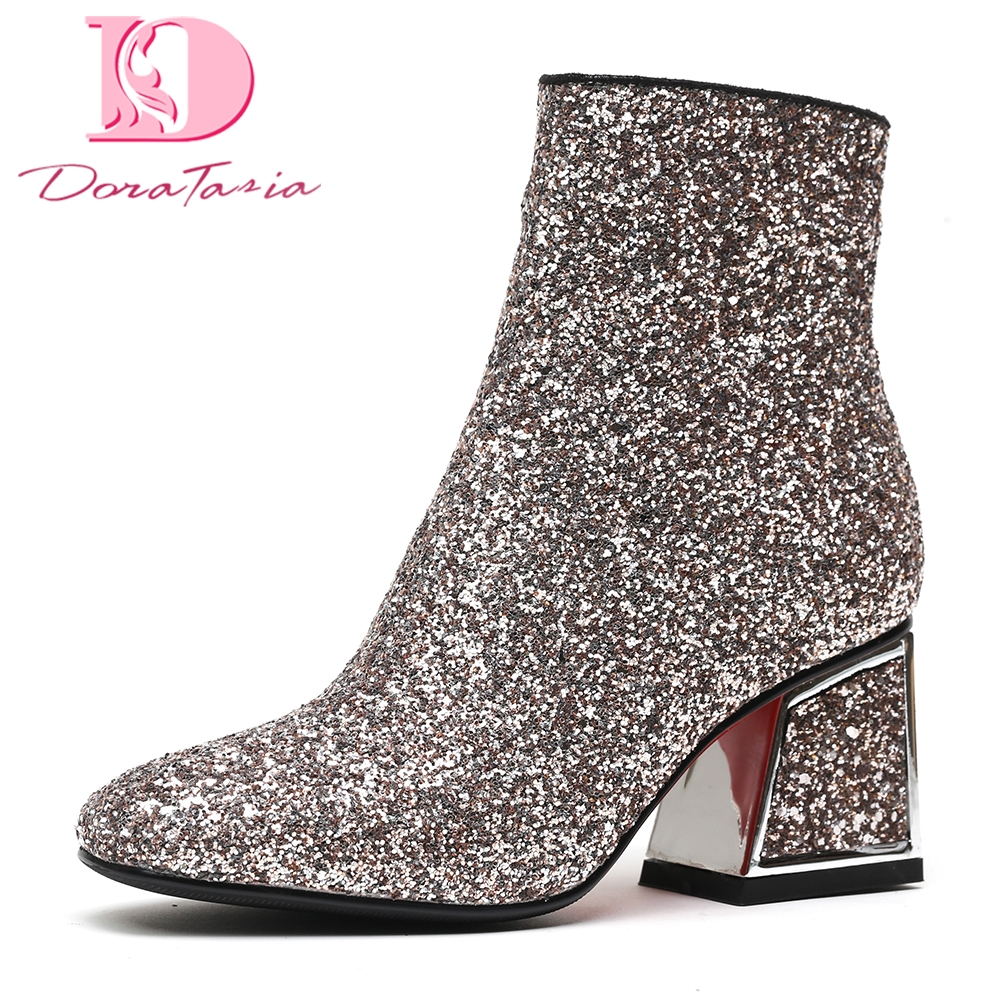 DoraTasia 2018 Large Size 34-42 women's party boots High Heels Winter Boots Woman Shoes Zip Up Fashion Ankle Boots Shoes Women 2018 new fashion ankle boots autumn winter women boots high heels boots lace up women shoes large size 34 43