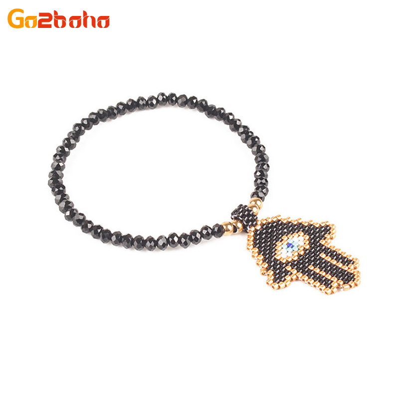 Frugal Go2boho Mysterious Fatima Hands Crystal Bead Bracelet Miyuki Seed Beads Evil Eye Bracelet For Women Fashion Jewelry Men Pulseira Famous For High Quality Raw Materials Full Range Of Specifications And Sizes And Great Variety Of Designs And Colors