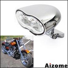 Motosiklet Oval far özel e n e n e n e n e n e n e n e n e n e far için Harley Honda Yamaha Suzuki Streetfighter Cafe Racer H3 55W çift far