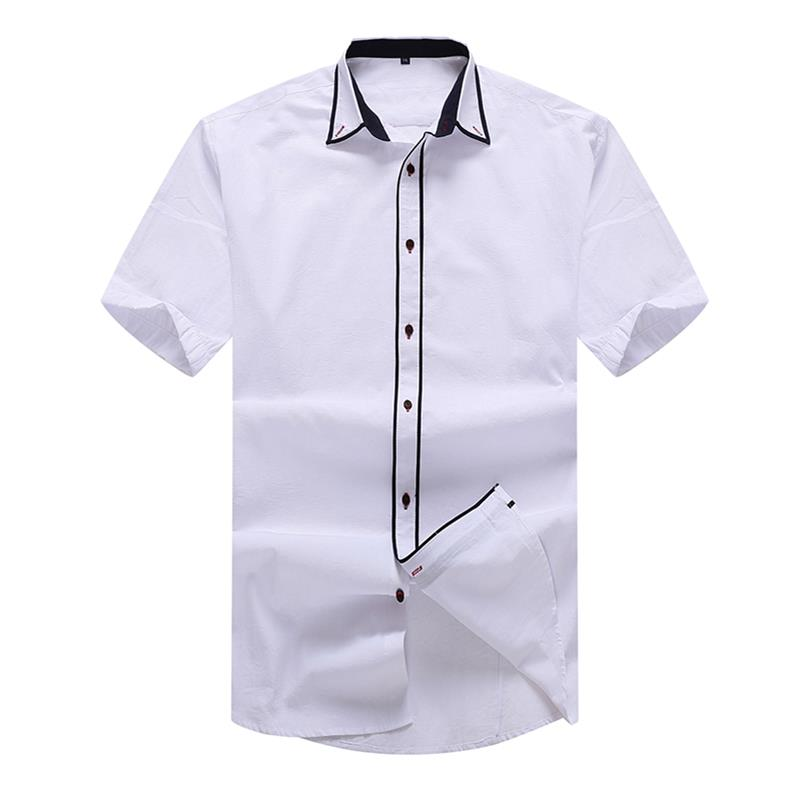 Homme Marque Vêtements Solide Chemises Coton À 8xl 1 Manches Fit Chemise Casual 6xl Courtes 5xl Loose 10xl Hommes Mens Robe Mode THA6a