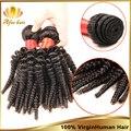 Cabelo virgem peruano Afro Kinky Curly virgem cabelo 3 Pcs 6 - 30 polegada, Barato extensão do cabelo humano preto Natural cabelo encaracolado peruano
