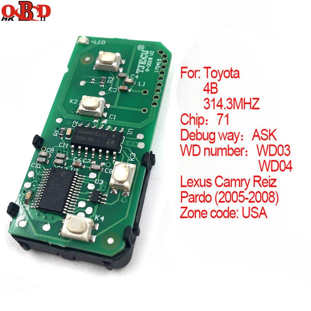 Hkobdii 271451 0140 Смарт Удаленная панель 314,3 МГц Автомобильный ключ доска для 2005 2008 Toyota (США) Lexus Camry Reiz WD03 WD04