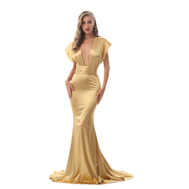 2019 Sexy Mermaid Satin Dresses Floor Length Evening Party Dress Hollow Out DIY Straps Bodycon Backless Evening Gown Dress 1