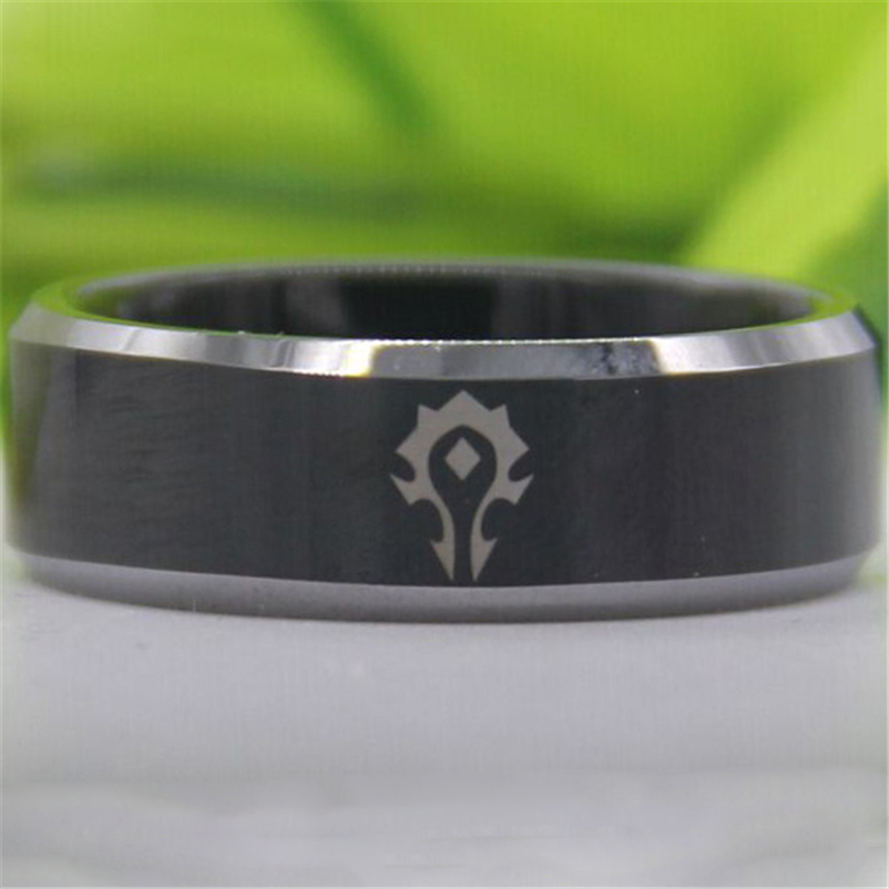 Free Shipping Top Quality The World of Warcraft Horde Design 8MM Black Top Silver Bevel New Men'sTungsten Wedding Band Ring цена
