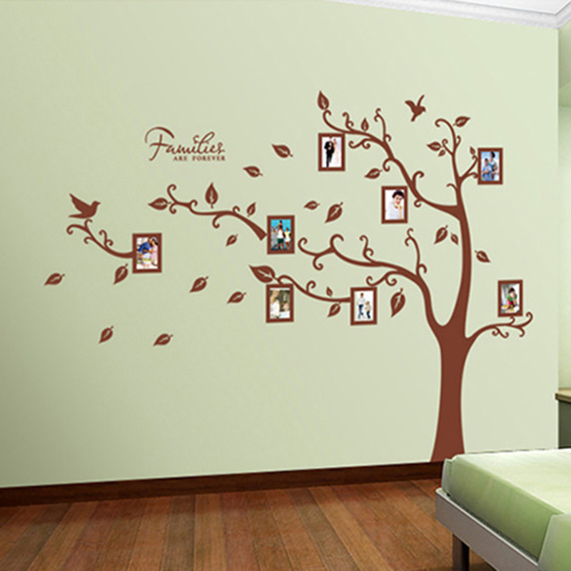DIY Family Tree Wall Decal Large Vinyl Photo Picture Frame Adhesive Wall  Stickers Mural Art Home Decor Removable Brown Branches In Wall Stickers  From Home ... Part 97