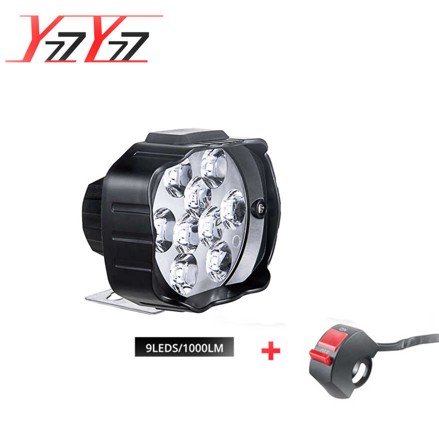 YzzYzz  9 LED Motorcycle headlight led Motorbike 9W DC12V Super Bright 1000LM+Switch Universal Scooter 6000K White Car DRL Lamp