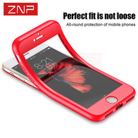 ZNP Case For IPhone 7 6S 6 Plus Protect Silicone Soft 360 Full Body Protective Cover
