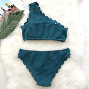 Image 2 - CUPSHE Solid Teal Tank Bikini Sets Women Wavy Edge One Shoulder Plain Swimwear 2020 Summer Sexy Girl Beach Slim Swimsuits