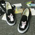 New Cute Womens Flats Summer 2016 Breathable Cat Print Canvas Shoes Espadrilles Creepers Platform Shoes Women Thick sole Loafers