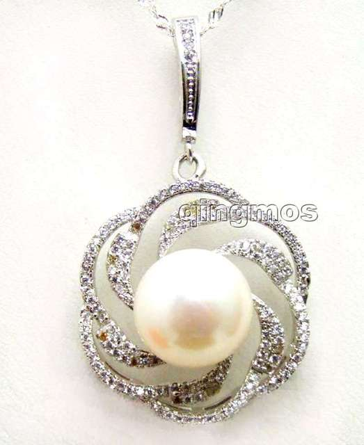 "Big 11-13mm White Flat Round Natural Pearl with silver 25mm Rose Pendant free 16"" silver 925 Chain-nec6121"