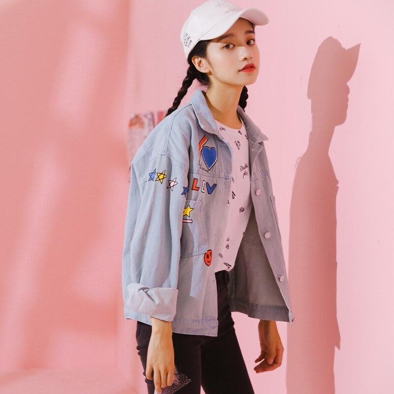 2018 Womens Harajuku Spring Smiley Face Print Windbreaker Denim Jacket Female Cute Japanese Kawaii Bomber Coat For Women