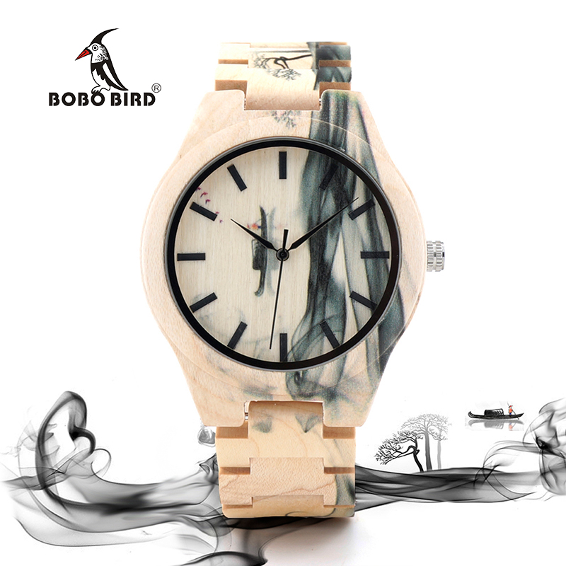 BOBO BIRD Mens Watch Ink Painting Design All Maple Wood Watches for Males in Wooden Gift box все цены
