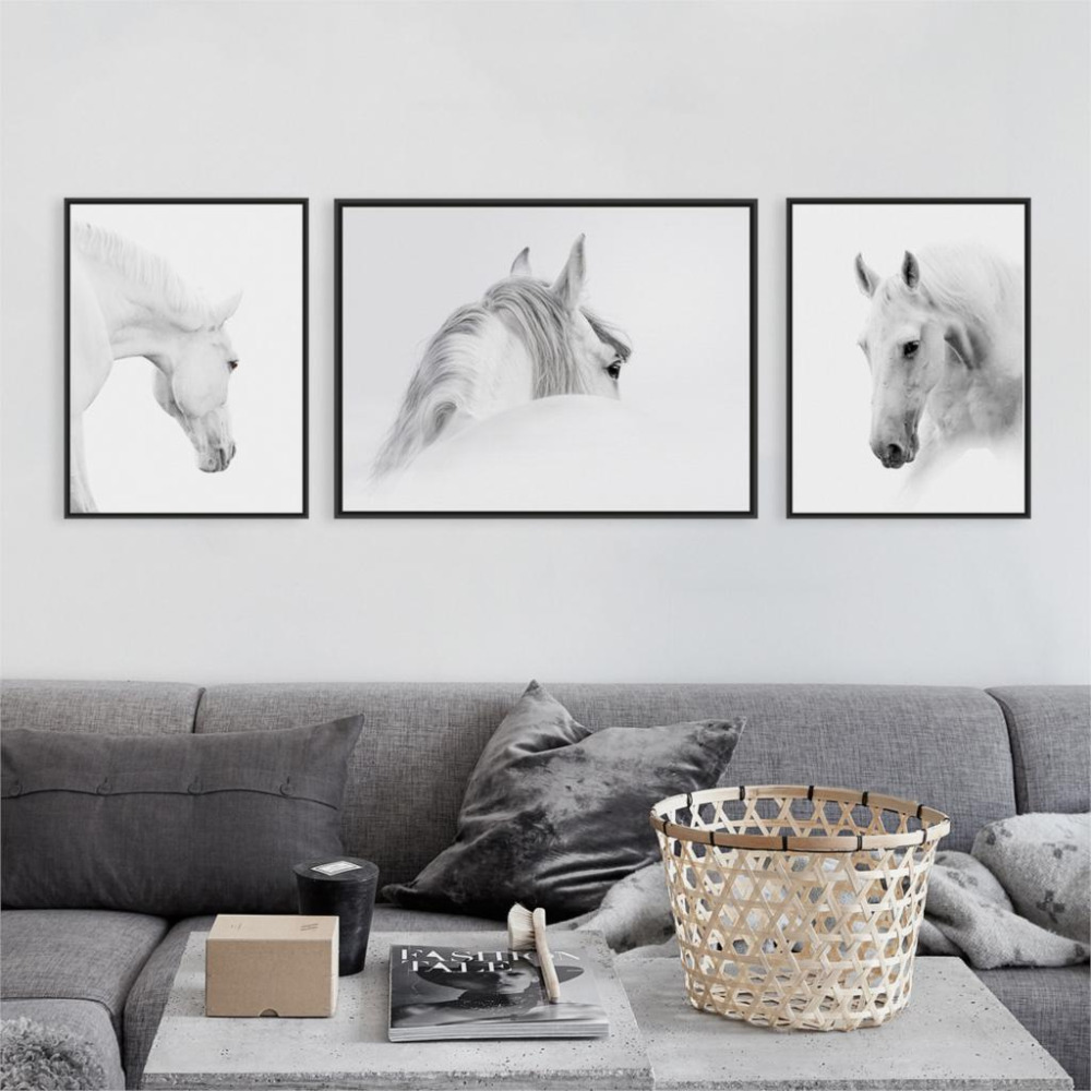 Triptych Modern Minimalist Black White Animal Horse Head