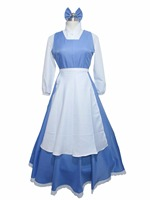 Beauty And The Beast Belle Cosplay Costume Girls Long Maid Dress
