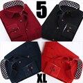 Calidad Barato Moda Casual Slim Fit Hombres Camisas de Pana Larga Camisa de Vestir de manga 4XL, 5XL Plus Size 42,43 44 Azul Marino Rojo negro