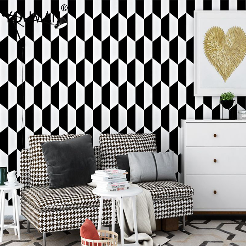Wallpaper For Kids Room 3d White Black Design Wallpaper For Bedroom Wall Covering Geometric Home Decor Living Room Wallpaper 3d Aliexpress